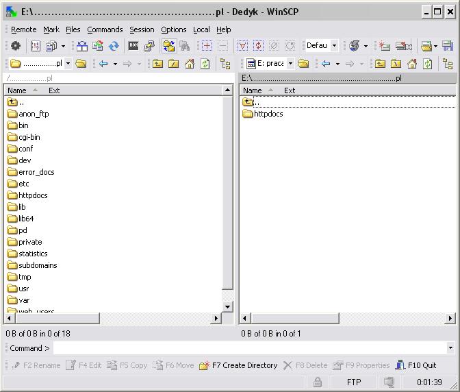 Główne okno programu WinSCP
