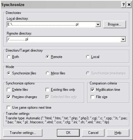 Synchronizacja plików w WinSCP