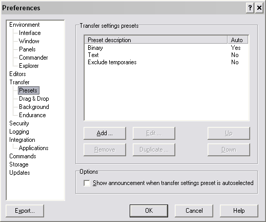Tryby przesyłania plików w WinSCP