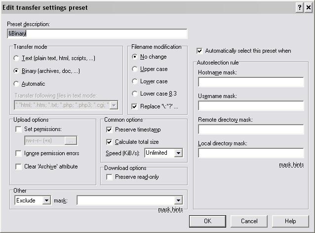 Ustawienia trybu przesyłania plików w WinSCP