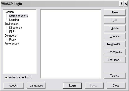 Lista połączeń w programie WinSCP